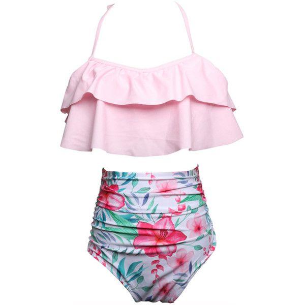 814fc0e86e Coeur de Vague Pink & Blue Floral Halter Bikini Top & High-Waist... ($20) ❤  liked on Polyvore featuring swimwear, bikinis, floral bikinis, pink high ...