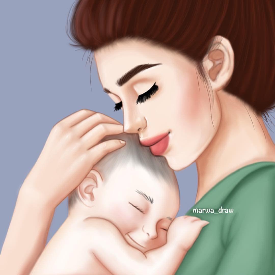 Pin By أفراح الخليج On Girls Mother Art Cute Couple Art Baby Art