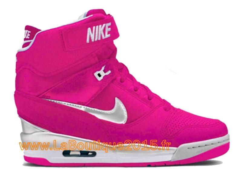 wholesale dealer 4f8d3 e8525 Nike Air Revolution Sky Hi GS 2015 Chaussures Montante Nike Pas Cher Pour  Femme Rose Blanc