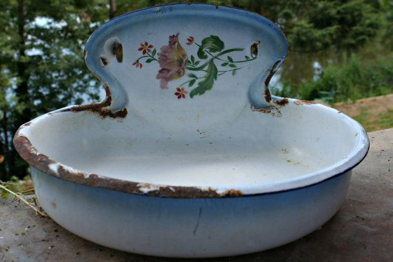 French Vintage Enamel Painted Basin Blue by FromParisToProvence, €59.00