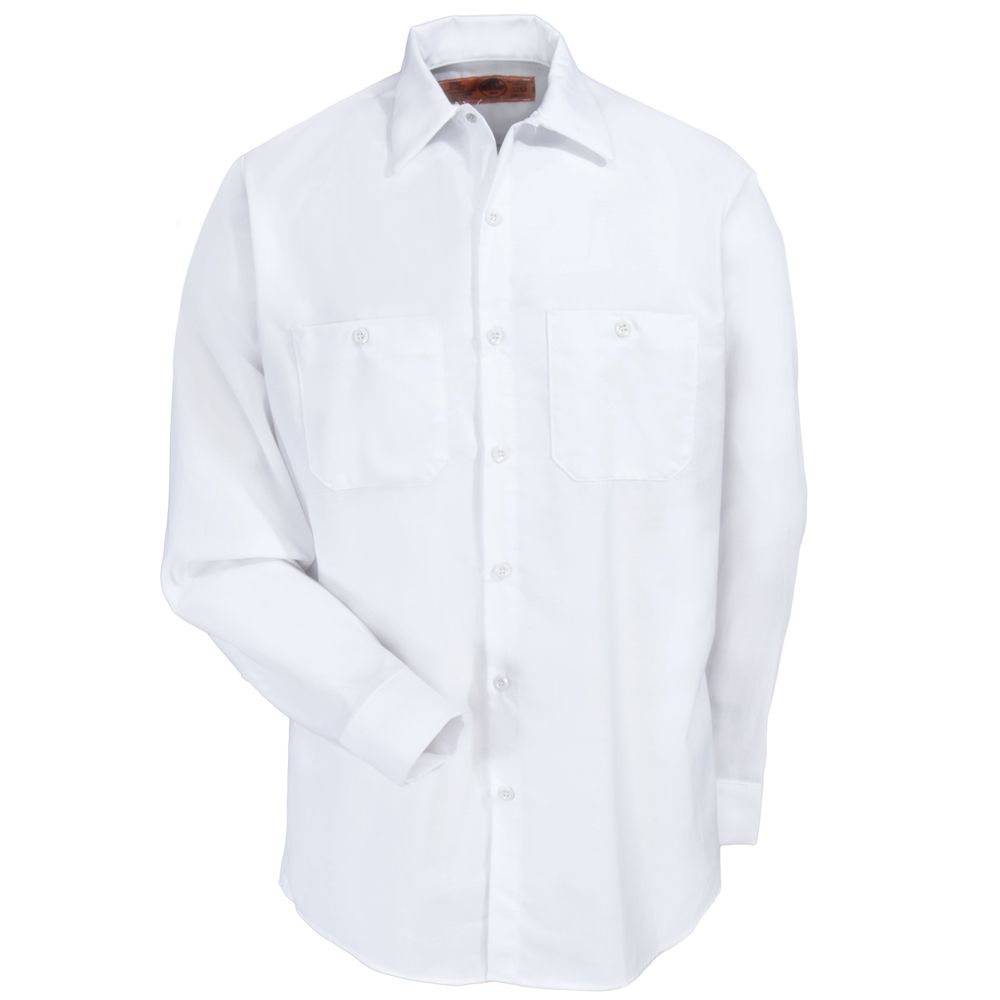 Red Kap Uniforms Men's SP14 WH White Long-Sleeve Industrial Work Shirt