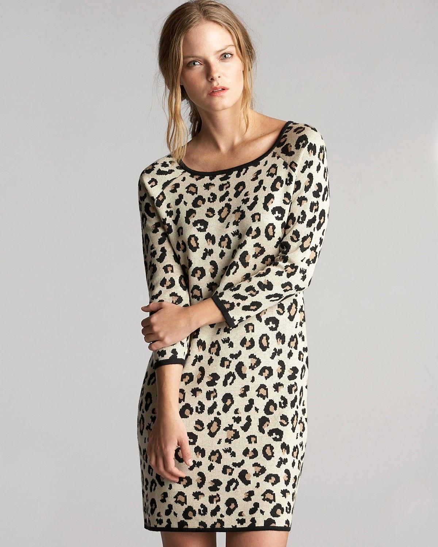 Velvet by Graham & Spencer Sweater Dress Leopard Jacquard