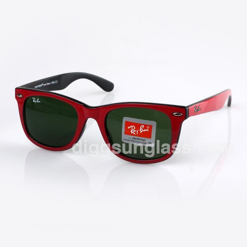 Ray Ban Men\'s Dark Green Sunglasses in Red/Black Frame | Fashion ...