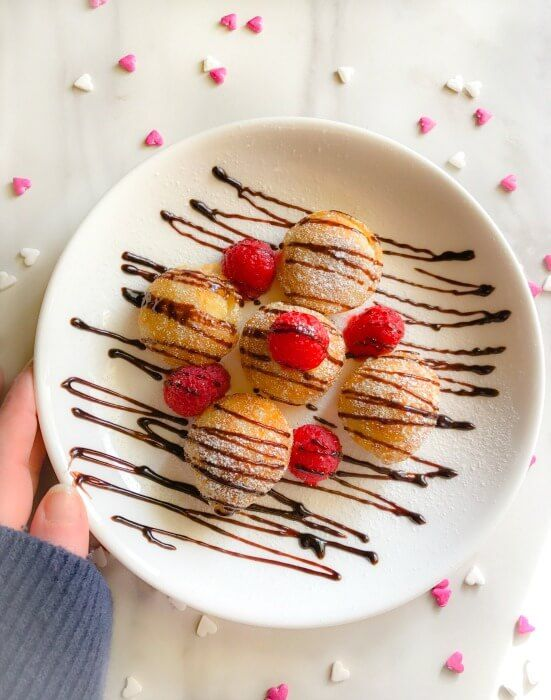 Valentines Breakfast Mini Dutch Pancakes Poffertjes Mini Dutch Pancakes Dutch Pancakes Food