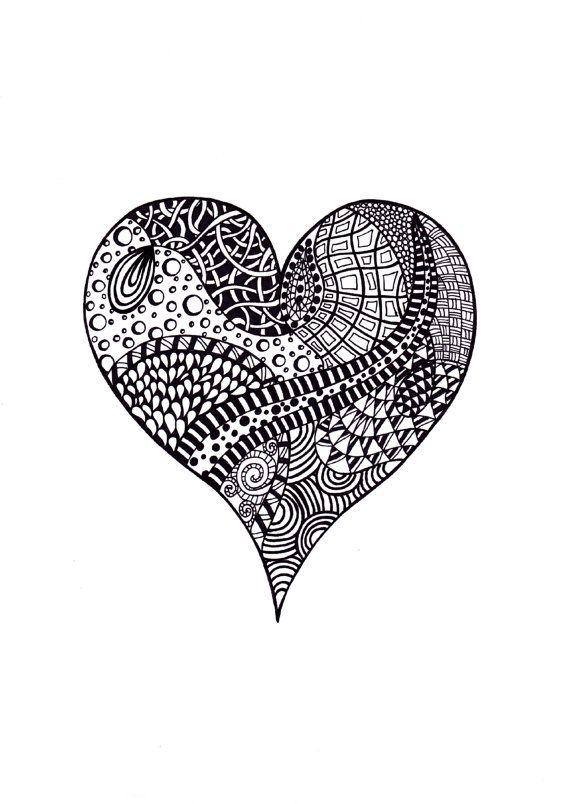 Abstract Heart Art Black White