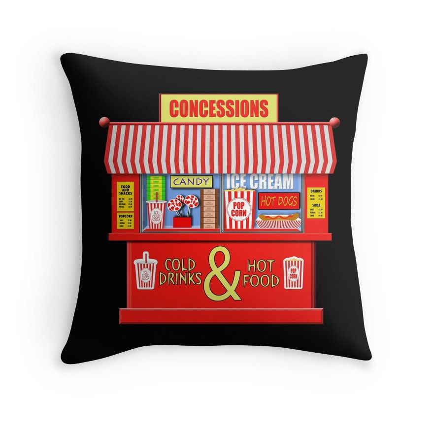 Concession Stand For Theater Room With Images: 'Movie Theater Concessions Stand ' Throw Pillow By