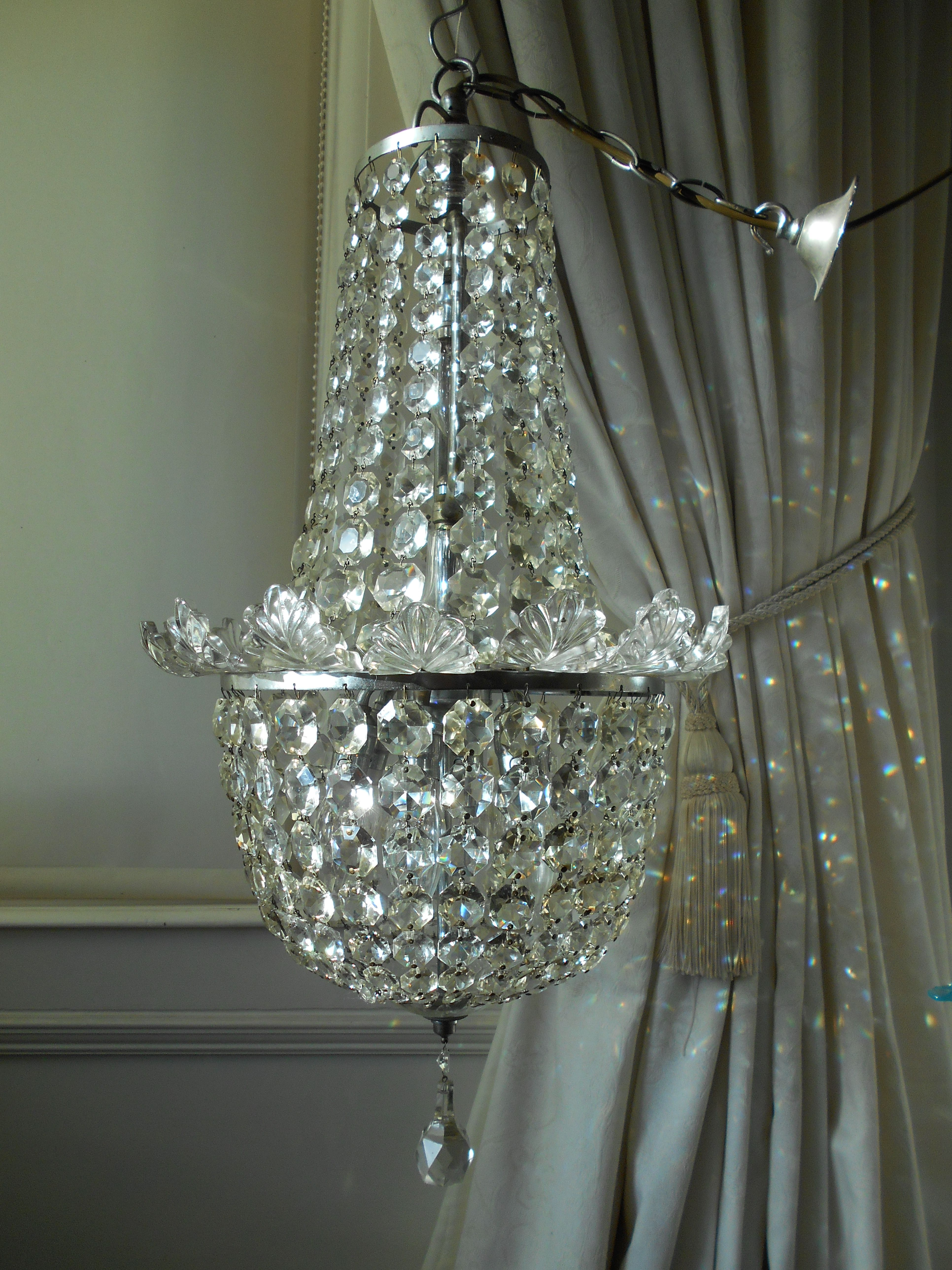 Vintage French Empire Crystal Silver Chandelier