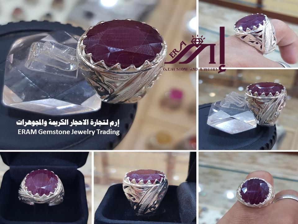 خاتم رجالي ياقوت مميز طبيعي100 Ruby للعرض Gemstone Jewelry Gemstones Class Ring