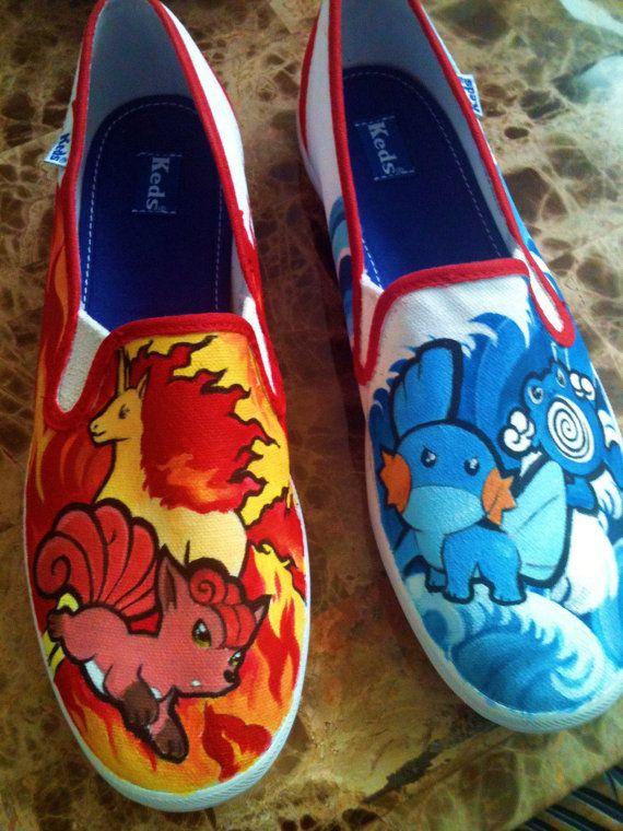 76b3c8e9ad8e6 Custom Painted Pokemon Shoes4 by ReibotRock on Etsy, $75.00 | Gotta ...