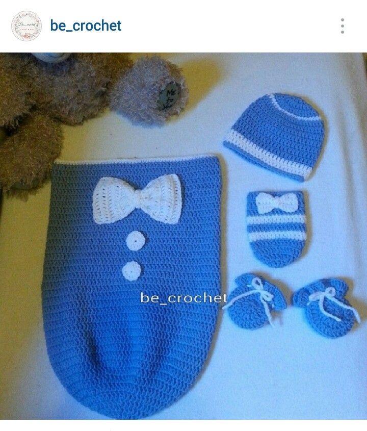 Instagram @be_crochet - baby boy\'s crocheted cocoon/beanie & mittens ...