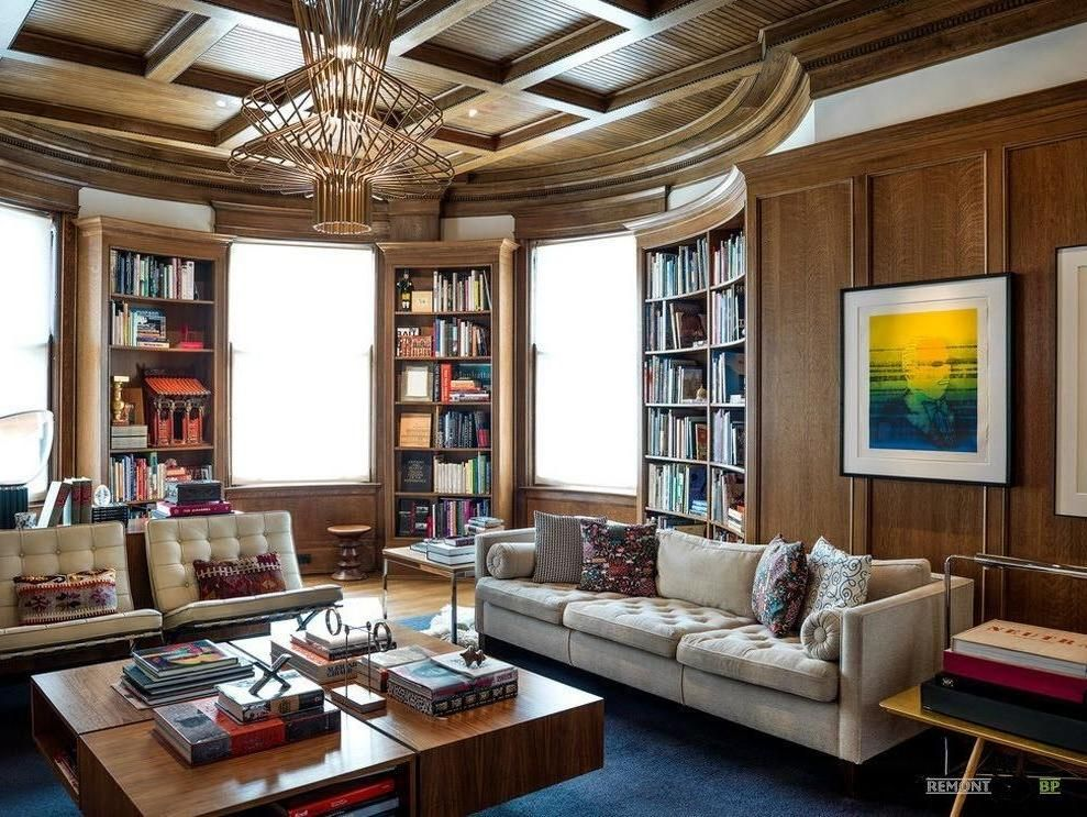 Astounding Wooden Library In Curved Design In A Deluxe Living Room Interior Alon Contemporary Home Furniture Modern Luxury Interior Comfy Living Room Furniture