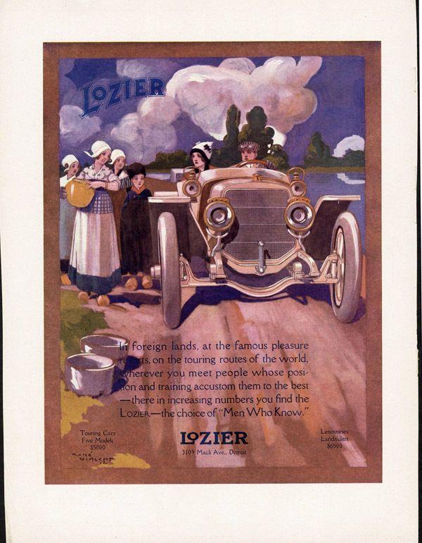 1912 LOZIER Ad ROADSTER Convertible RÉNE VINCENT Touring CAR Dutch Girls BREAD