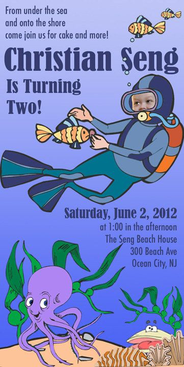 Under the Sea Birthday Party Invitation with Photo. DIY, print and cut from your home!