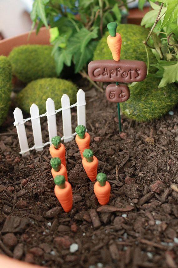 Polymer Clay Carrot Garden - Terrarium Accessory - Fairy Garden Accessory - Miniature Garden - Accent