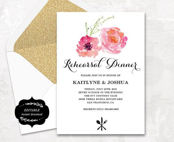 This is an INSTANT DOWNLOAD printable rehearsal dinner invitation - dinner invite templates