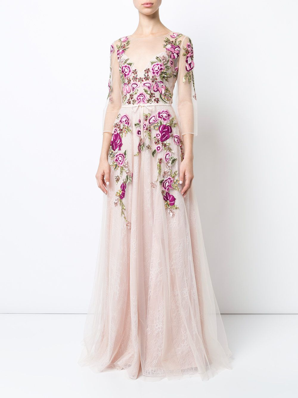 Marchesa Notte Floral Embroidered Lace Gown Floral Gown