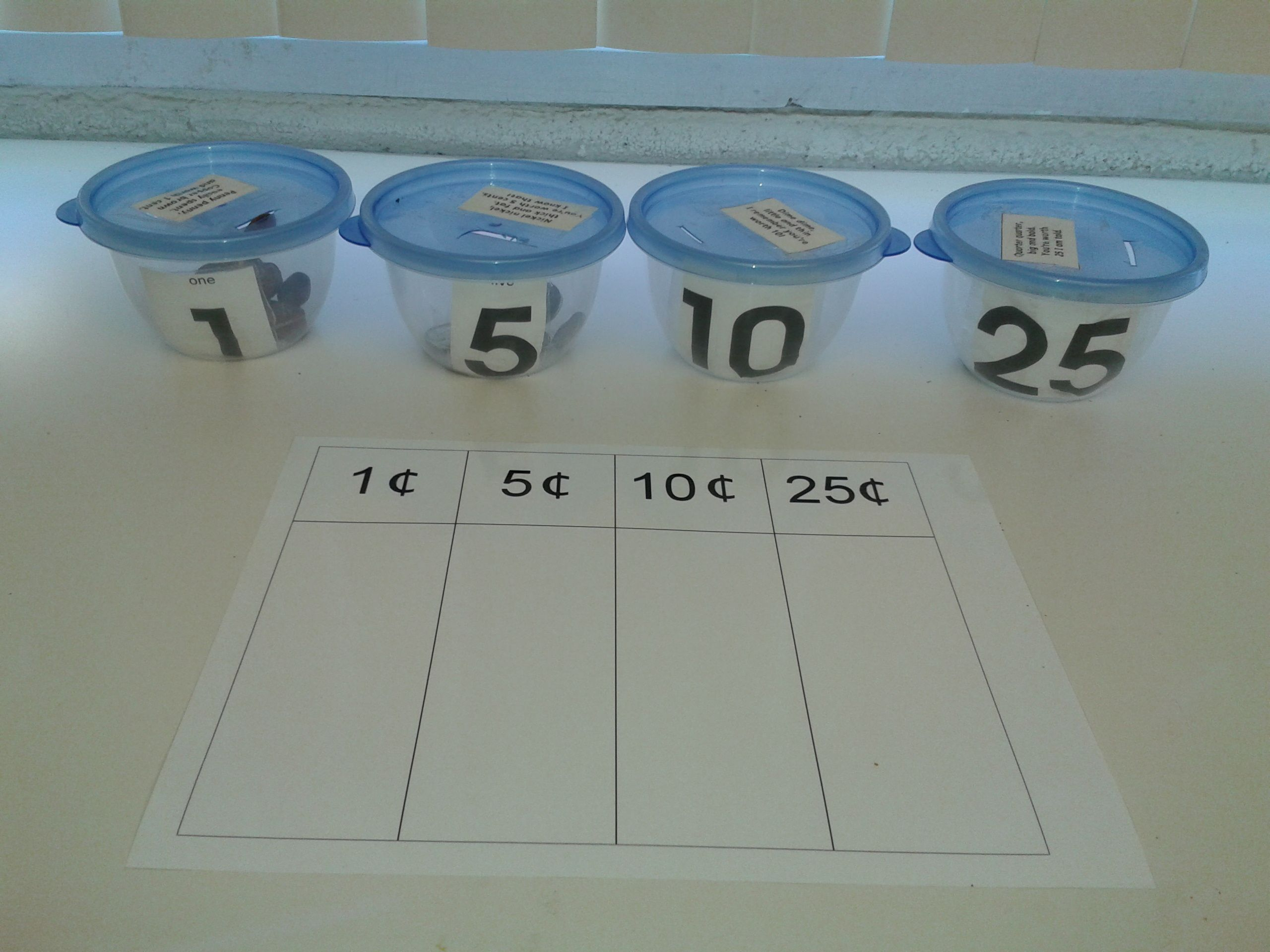 T 8 Sorting Coins By Value Using Actual Coins And A