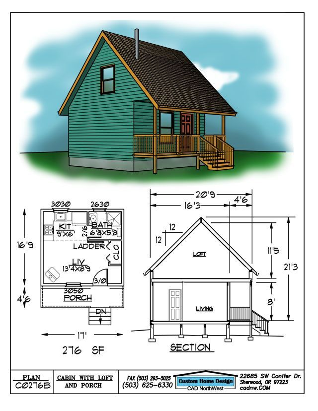 Cabin Floor Plans with Loft Drawing C0276b 16 9 X 17 Cabin