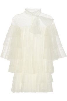 Valentino Tiered point d'esprit, lace and tulle mini dress   NET-A-PORTER