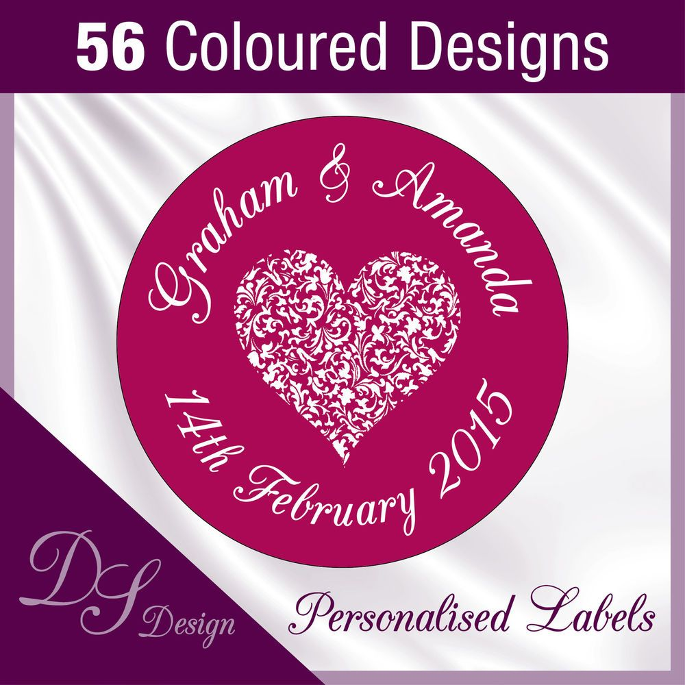 DSD007-3 Personalised Heart Wedding Favours Labels Stickers Seals ...