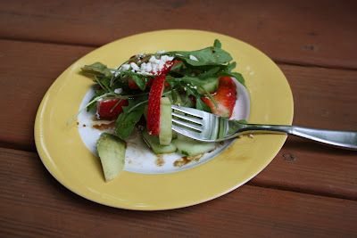 Strawberry, cucumber and arugula salad, very healthy from Chow & Chatter.