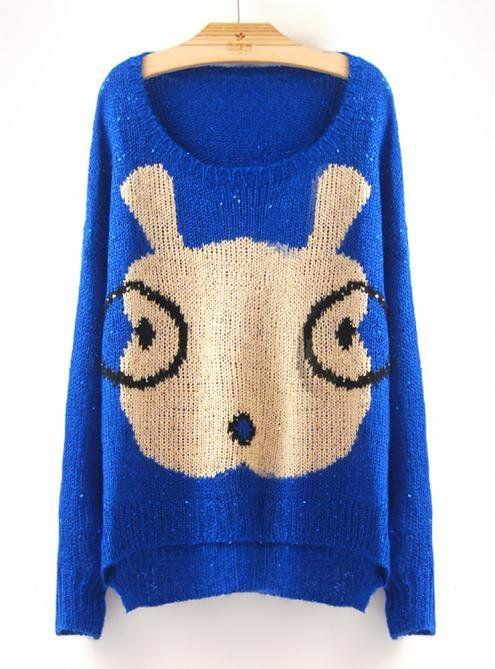Cartoon Glasses Rabbit Sweaters Blue$50.00