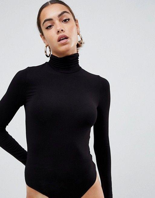 DESIGN - Body à manches longues et col roulé - Noir  7b2f9602fc4