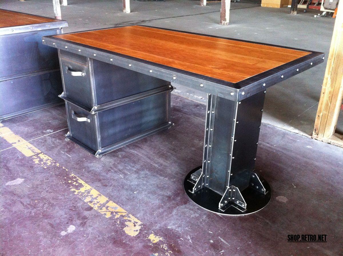 I beam desk and ellis filing cabinet by vintage industrial furniture