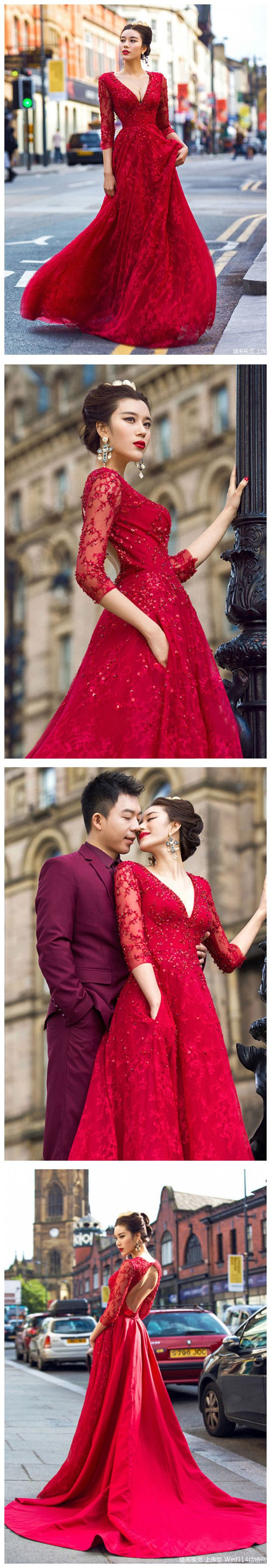 red aline prom dresses v neck beading lace modest long prom