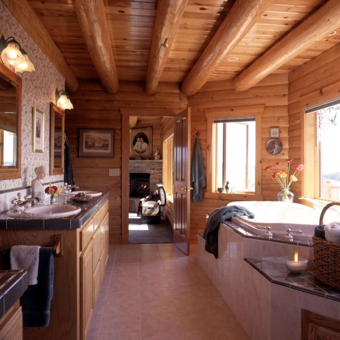 Log home master bathroom with jetted tub Log home
