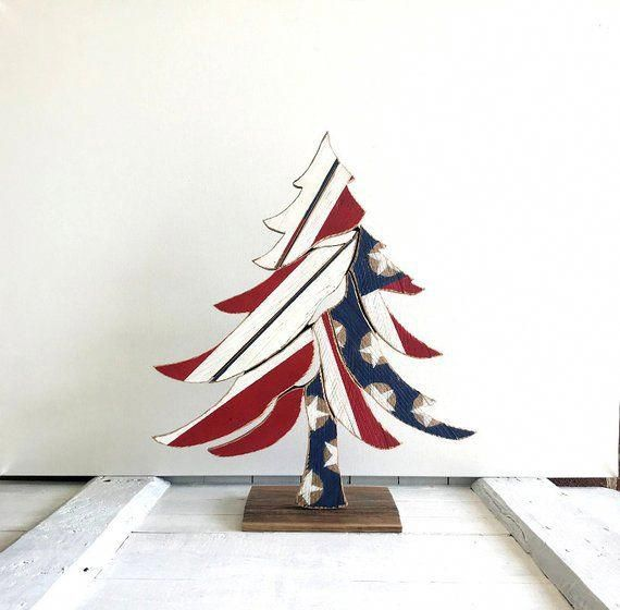Americana Red White  Blue Christmas Tree Rustic Holiday Decorations