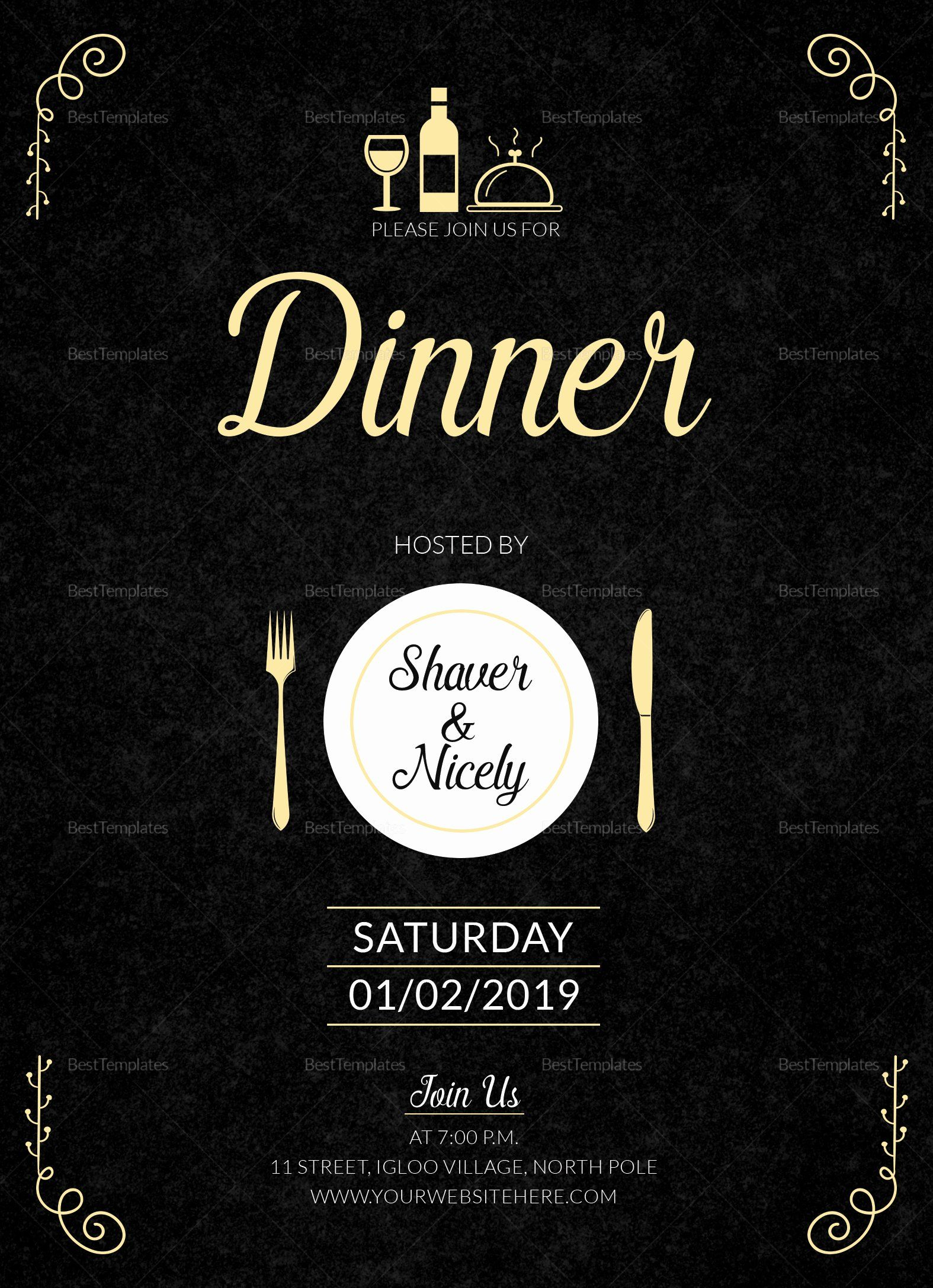 Dinner Invite Template Word Fresh Dinner Invitation Card Design