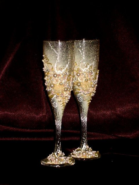 decorate champagne glasses. Items similar to Hand decorated wedding champagne glasses  elegant toasting flutes in gold ivory and royal blue Beautiful gift on Hey I found this really awesome Etsy listing at https www etsy