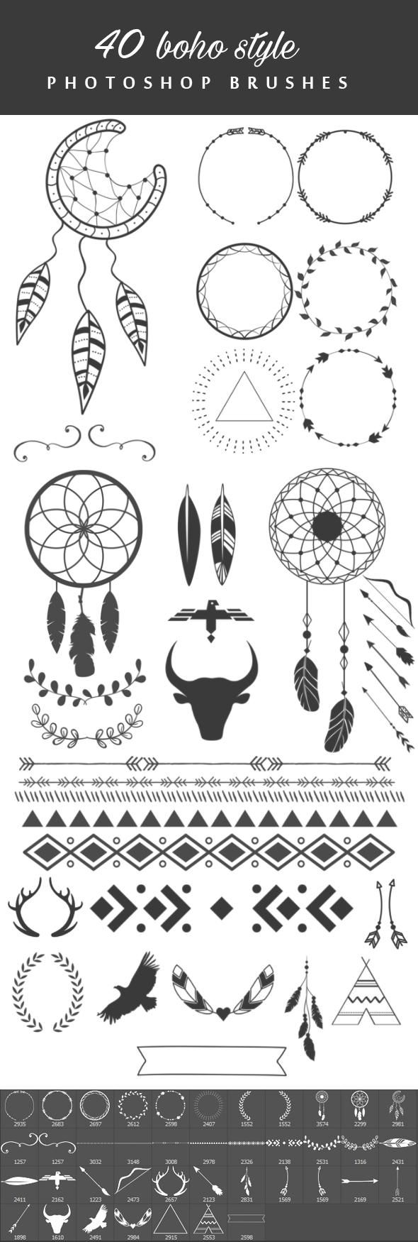 40 Boho Style Brushes Boho graphic design