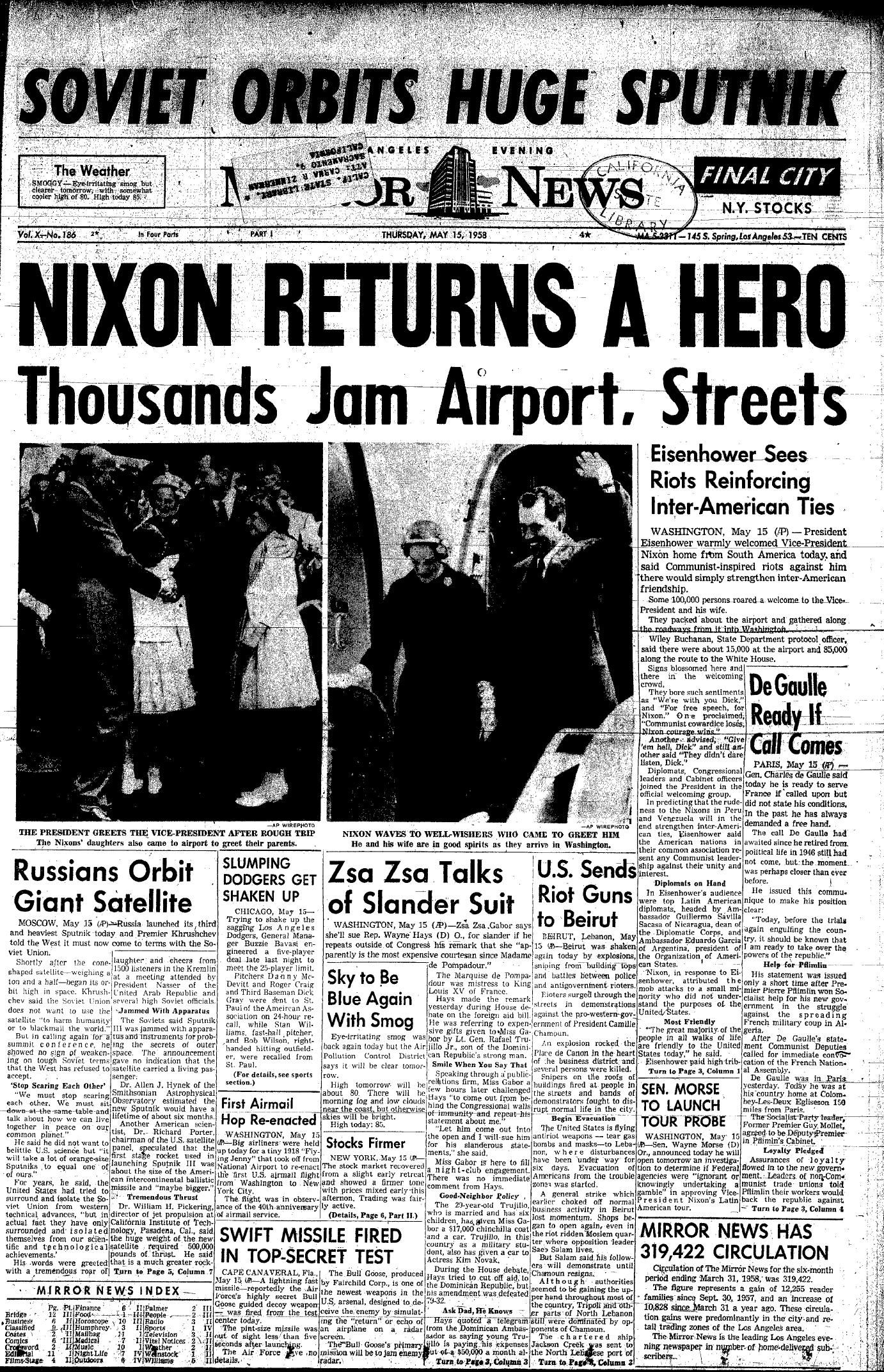 May 15, 1958 Newspaper | Historical news, Newspaper