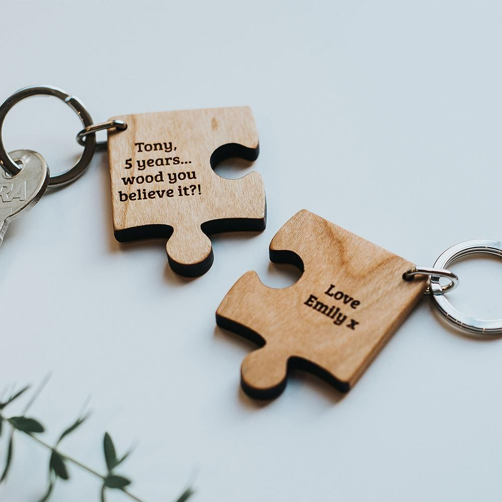 Personalised Jigsaw Keyrings Couple/'s gift wedding anniversary valentines