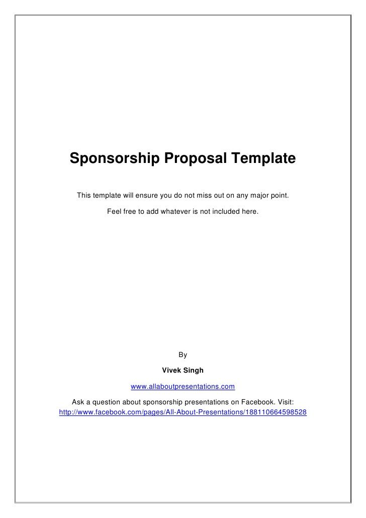 Example Of A Sponsorship Proposal Sponsorship Proposal Template This Template Will Ensure You Do Not .