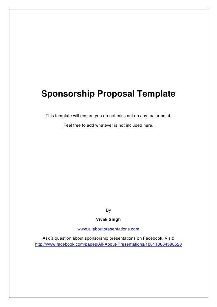 Sponsorship Proposal Template Derby Party Pinterest Sample
