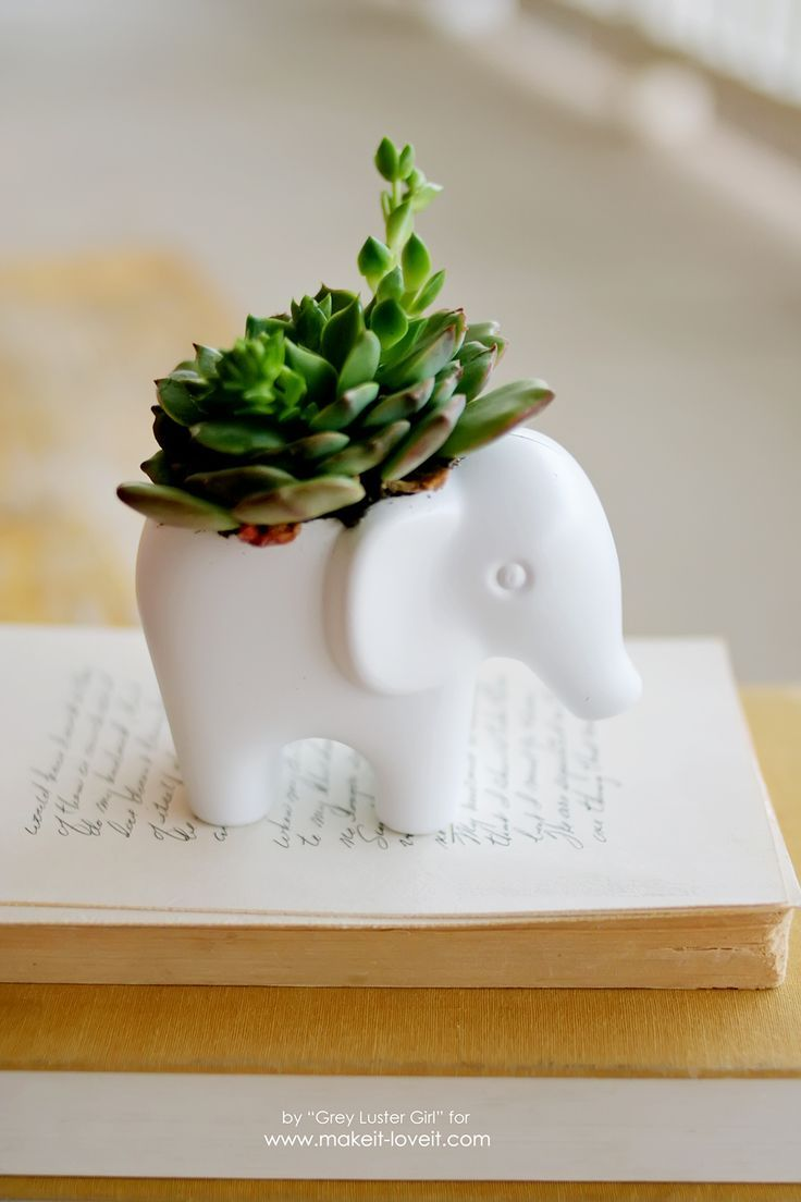 Diy Toy Elephant Succulent Planter Plants Succulents