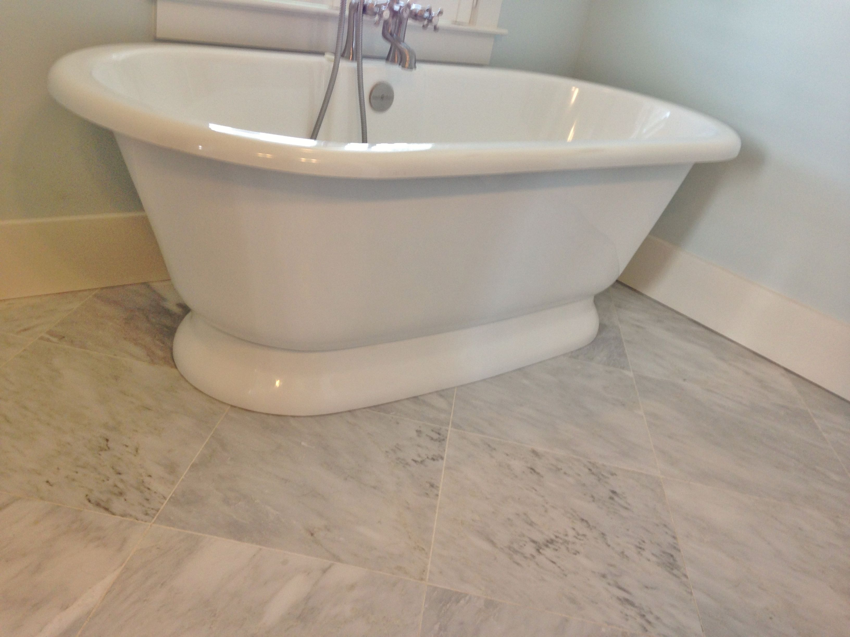 16x16 carrara marble at bathroom floor tile jobs weve done 16x16 carrara marble at bathroom floor dailygadgetfo Gallery