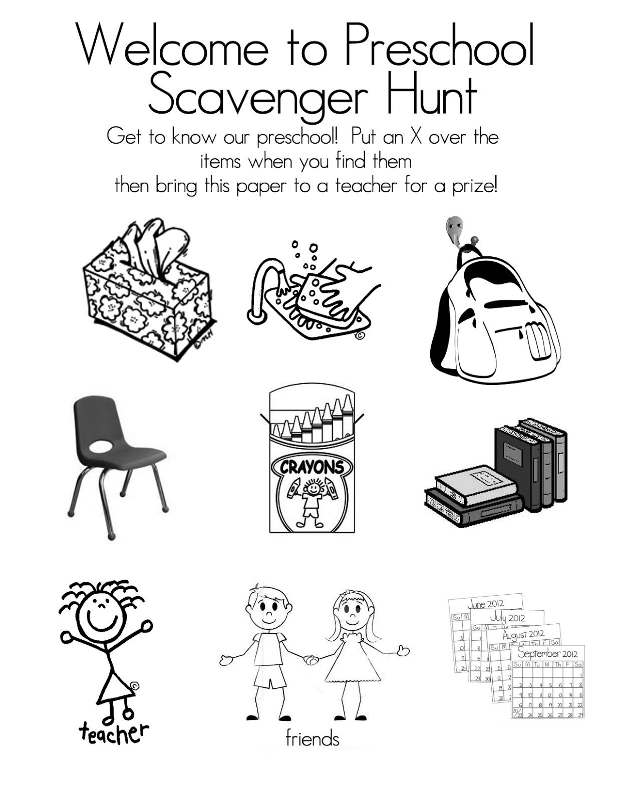 Preschool Open House Free Printable Scavenger Hunt Preschool
