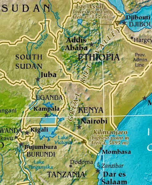 Africa Great Rift Valley Map Africa Pinterest - Africa map great rift valley