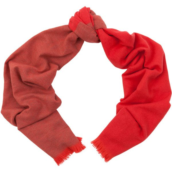 Begg & Co Hoy Marcelle Poppy Lambswool And Angora Scarf ($220) via Polyvore featuring accessories, scarves, red, red shawl and red scarves