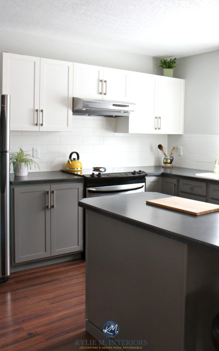 A Budget Friendly Kitchen Update White Gray And Gorgeous Black Laminate Countertops Painting Kitchen Cabinets Kitchen Remodel Countertops