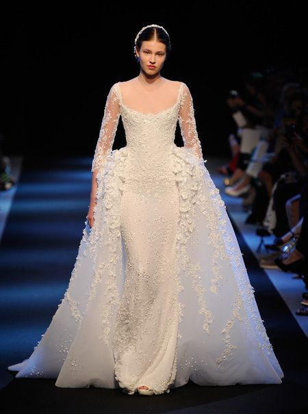 2000s bustle inspired wedding dress georges hobeika for Period style wedding dresses