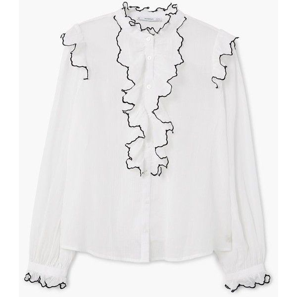 MANGO Contrast trim blouse ( 50) ❤ liked on Polyvore featuring tops ... 260696d71