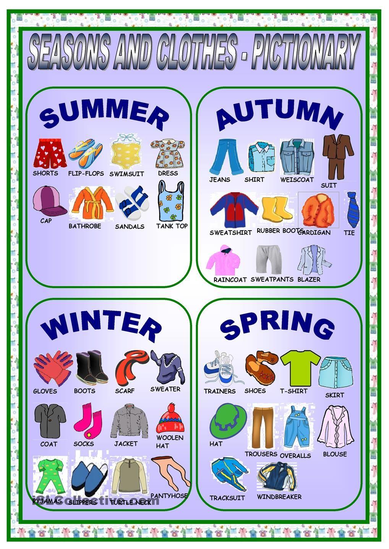 CLOTHES AND SEASONSPICTIONARY Seasons worksheets