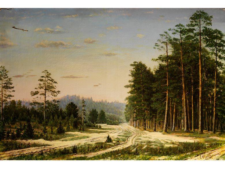 Simeon Fedorovich Fedorov,  1867 - 1910 LANDSCHAFT   Öl auf Leinwand.  68 x 101 cm.  Rechts unten signiert. (7500210)