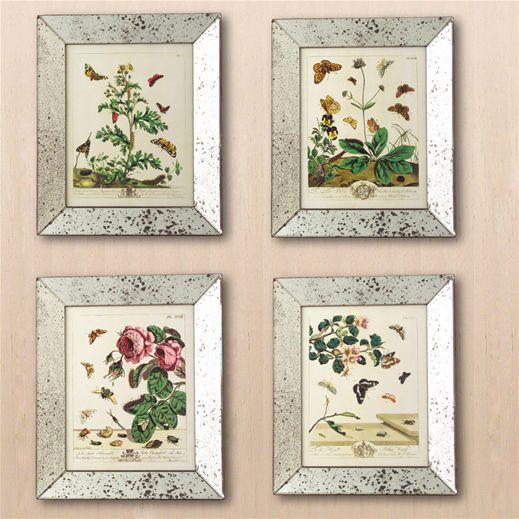 Reflection Butterfly Mirror Framed Art Prints Set Of 4: Set In Antiqued  Mirror Frames,