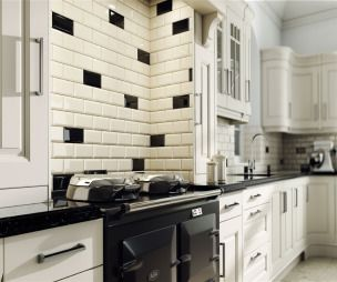 Metro Tile Design use our bevel brick tiles in black and cream in your kitchen to